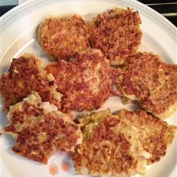 Yellow Squash Patties Allrecipes.com My guys really liked these with the hot sauce as suggested.  I didn't have time to salt and drain, but they were still crunchy and delicious!
