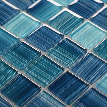 Blue glass mosaic for swimming pool tile crystal glass mosaic kitchen tile backsplash bathroom tiles mosaics