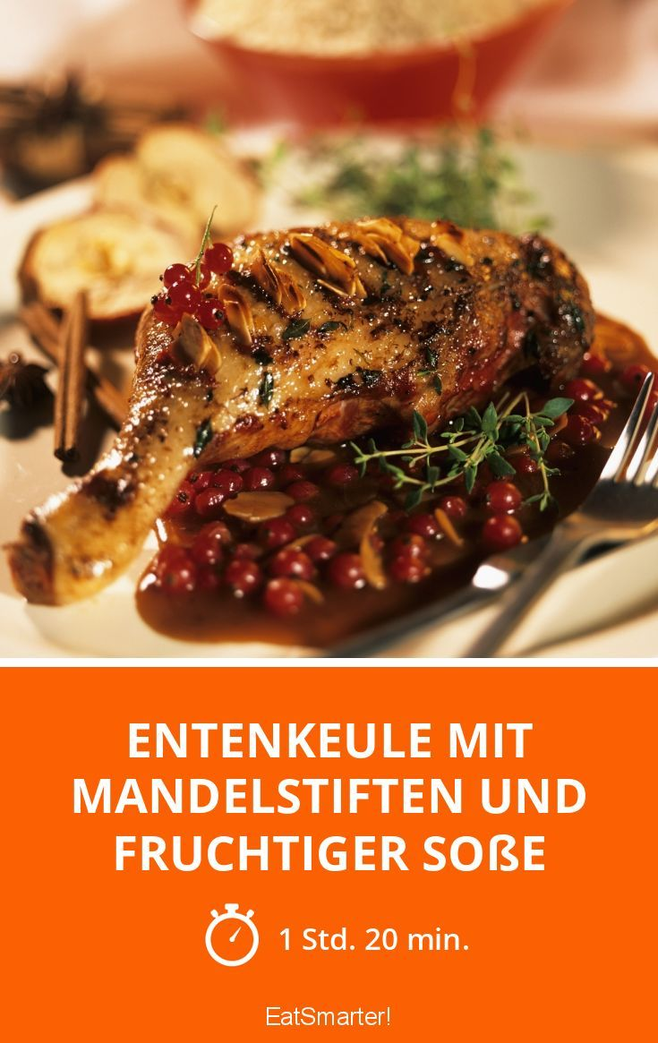 Entenkeule mit Mandelstiften und fruchtiger Soße - smarter - Zeit: 1 Std. 20 Min. | eatsmarter.de