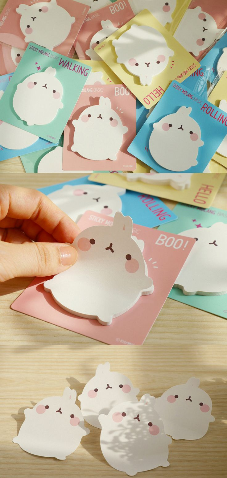 Bunnies! Bunnies everywhere! It's now spring, and so it's only right that these cute Molang Basic Sticky Notes hop right into our hearts! These are not your average sticky notes. They are so cute, totally functional, and practical sticky notes. Each pad comes with 30 sheets, and there are 4 different styles. Your adorable bunny friend is either taking a stroll, rolling around, saying hello, or trying to give you a fright. But we all know that Molang Bunny is too cute to scare us! Silly…