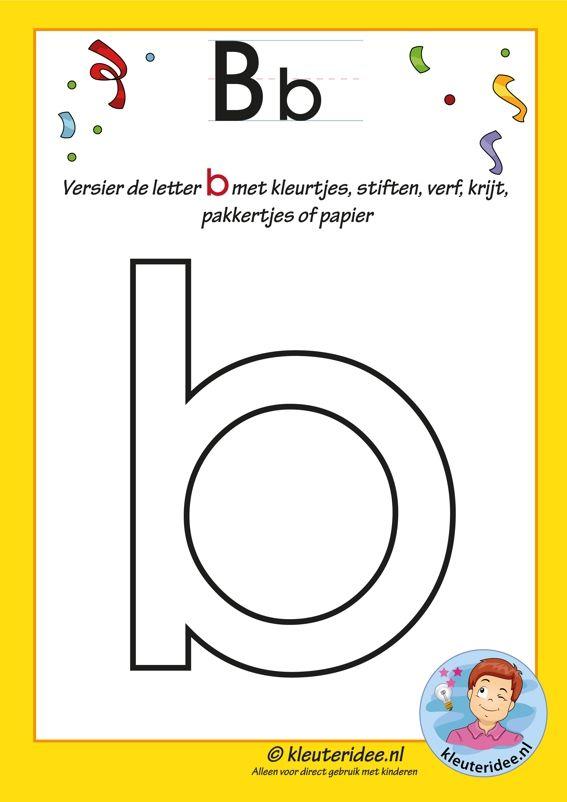 Pakket over de letter b blad 4, versier de letter b, letters aanbieden aan kleuters, kleuteridee, free printable.