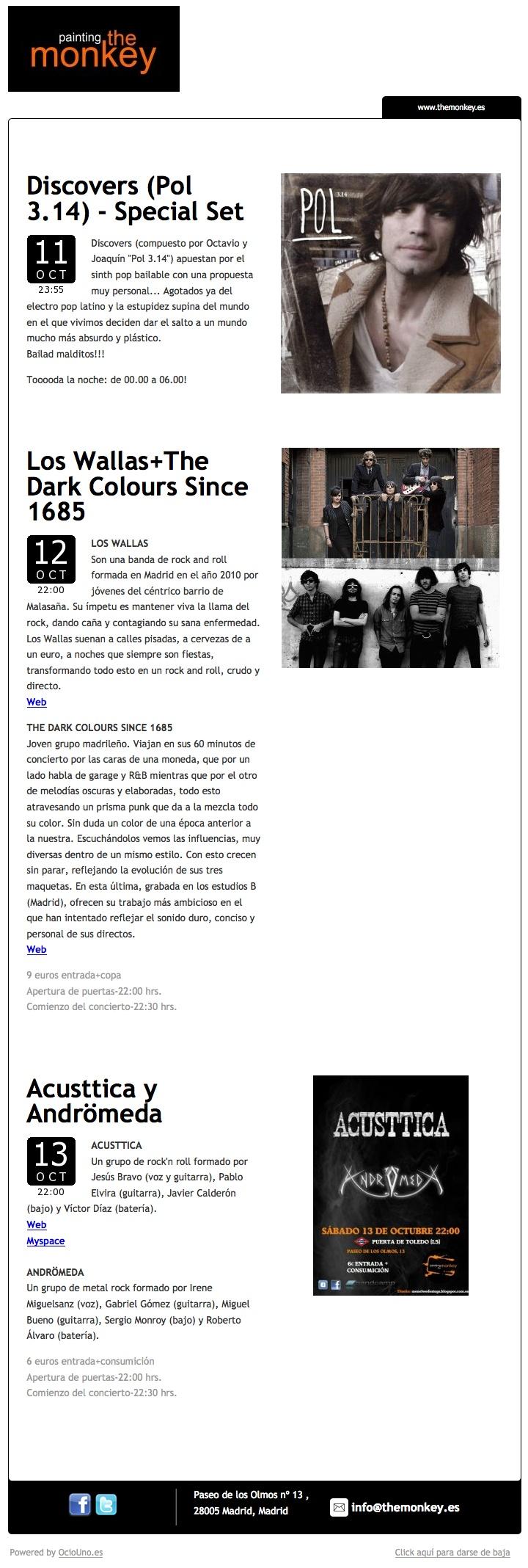 Painting the Monkey anuncia sus próximos conciertos mediante newsletter utilizando OcioUno. Más información en: www.ociouno.es