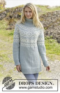 "Knitted DROPS jumper with Norwegian pattern and round yoke, worked top down in ""Nepal"". Size: S - XXXL. ~ DROPS Design"