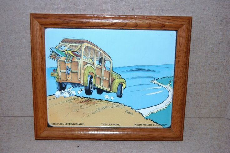 """JIM PHILLIPS COLLECTION """"THE SURF SAFARI"""" FRAMED PRINT HISTORIC SURFING IMAGES"""