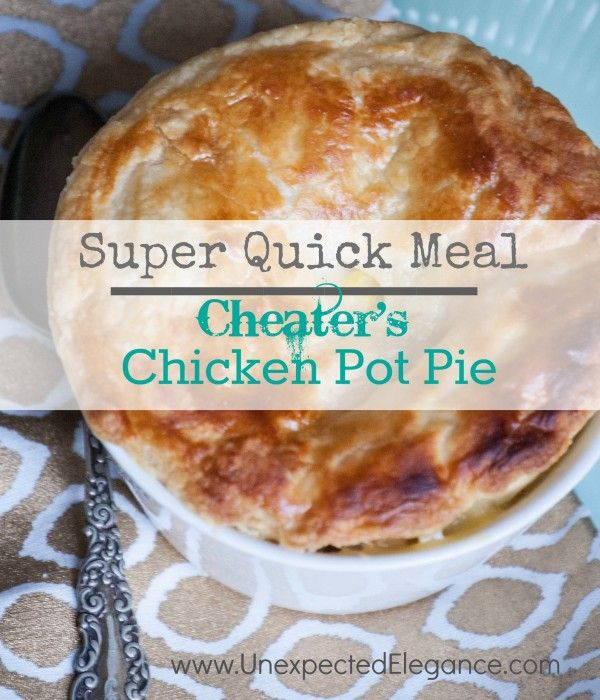 Super Quick Chicken Pot Pie!! Use a store bought rotisserie chicken and you can make this in 30 MINUTES!! Great for a quick meal during the week.