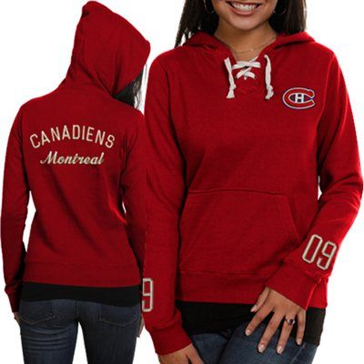 Old Time Hockey Montreal Canadiens Ladies Queensboro Lace-Up Pullover Hoodie Sweatshirt – Red