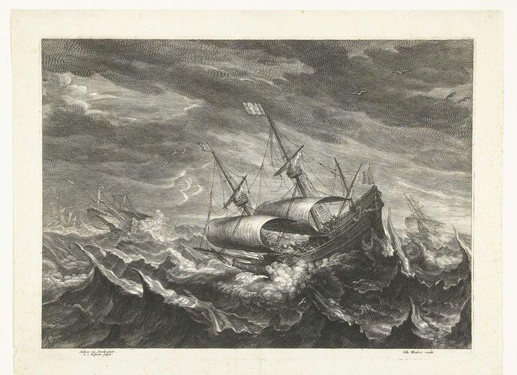 Schepen op zee met hoge golven, Schelte Adamsz. Bolswert, Gillis Hendricx, 1596 - 1659