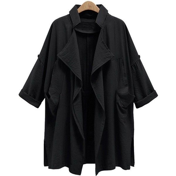 Plus Size Front Drape Trench Coat ($27) ❤ liked on Polyvore featuring jackets, outerwear, tops, drapey coat, drape coat, draped trench coats, plus size trench coat and trench coats