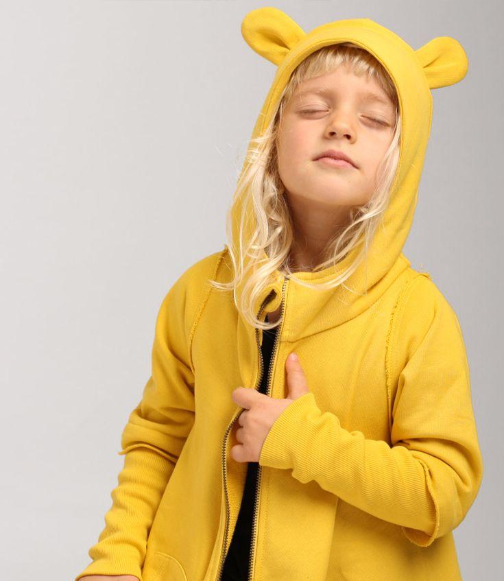 yellow cuffed hoodie