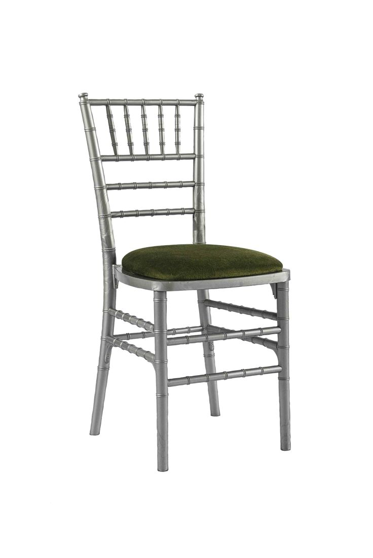 Silver Chivari chair with Green Seat Pad, Is a modern design stackable eco-friendly resin chair, shown here with a Green seat pad but is also available in various coloured seat pads. http://www.eventhireonline.co.uk/chairs/chivari