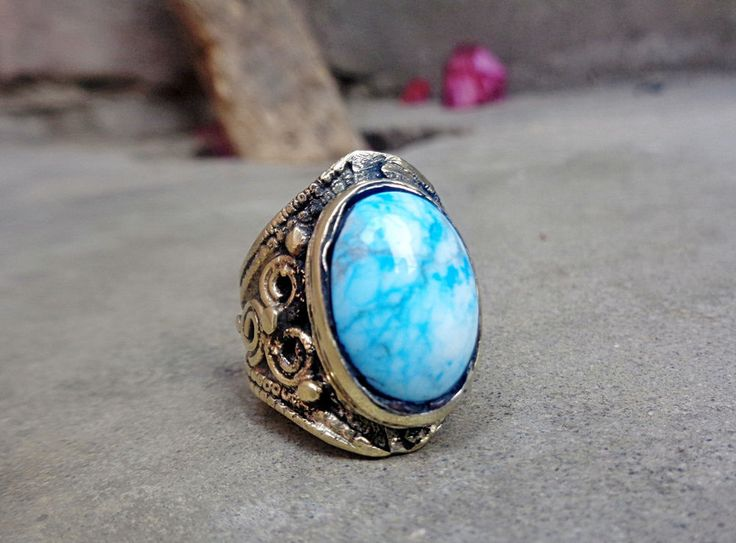 925 Sterling Silver Guaranteed Natural Blue Turquoise Coral Rare Islamic Ring  #KuchiAfghan