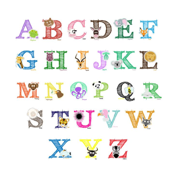 Easy Peel And Stick Animal Alphabet Wall Decal Stickers Nursery Kids Zoo Part 47