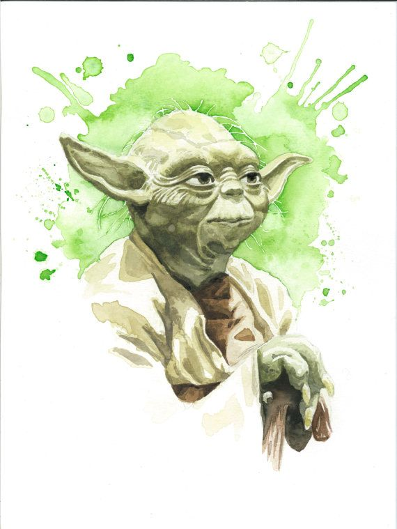 Yoda Character Design : Star wars watercolor art print yoda by jawart on etsy
