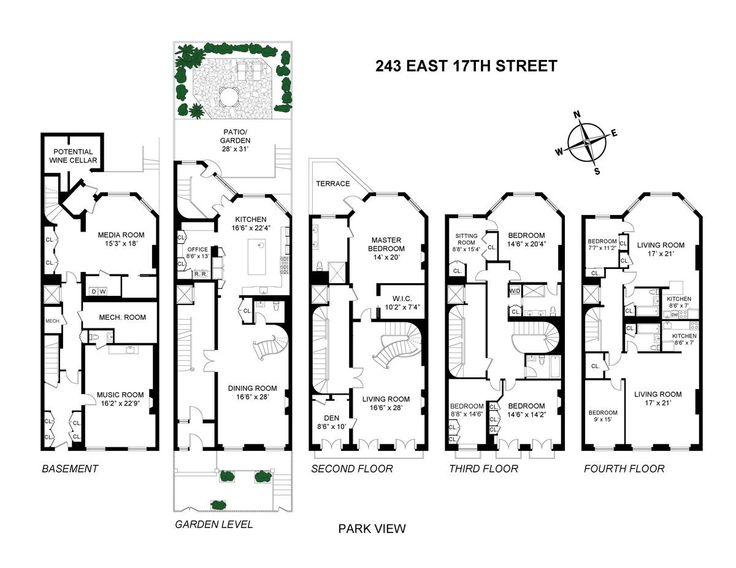 1200 927 house plan pinterest for Gramercy park townhouse for sale