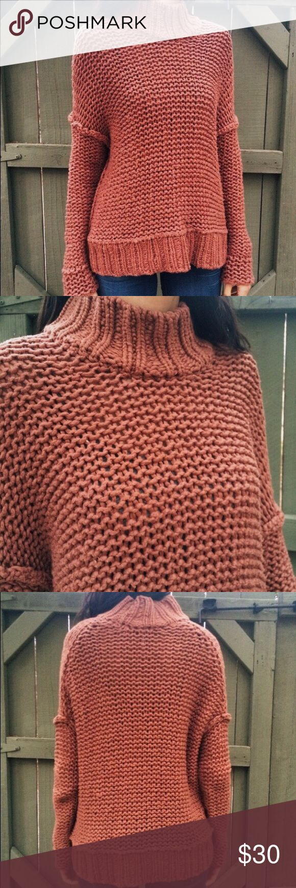 Free People Chunky Knit Turtleneck in Brick Beautiful and cozy! Very warm knit sweater with minor pilling/wear. Priced accordingly. Pretty reddish brick color! Free People Sweaters Cowl & Turtlenecks