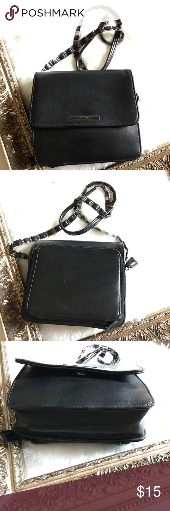 NINE WEST BLACK CROSSBODY BAG Used quite a few times but still in good condition.Has exterior compartment with 5 card slots, ID slot and one coin compartment with zip closure. interior has one compartment with zip closure and top has a snap closure. Strap has this pretty design.Great deal! Nine West Bags Crossbody Bags