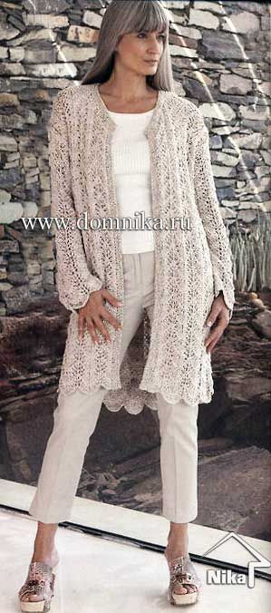Летнее вязаное пальто