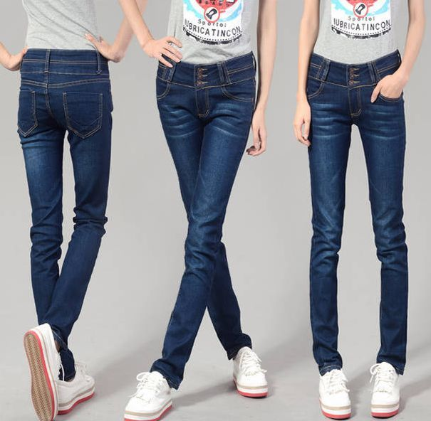 Korea Style Dark Blue Three Buttons Jeans