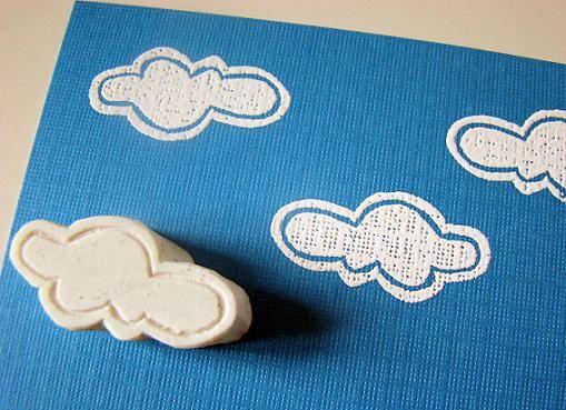 Cloud stamp made from an eraser.