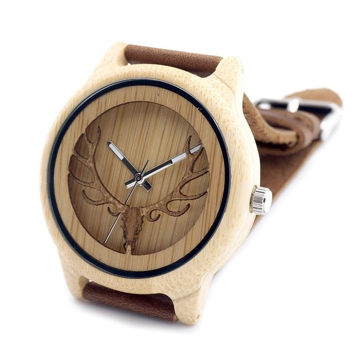 2016 Deer Head WIth Hollow Out Technology Bamboo Wood Casual Watch With Genuine Leather Strap Quartz Watch With Gift Box Oh just take a look at this!  #shop #beauty #Woman's fashion #Products #Watch