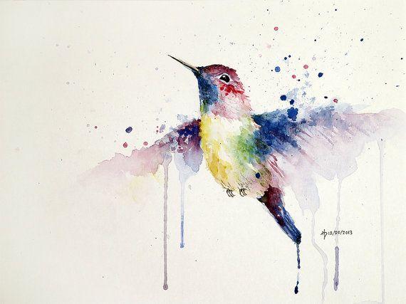 Colorful hummingbird watercolor print 12x16 by HappyCatStudio, $35.00