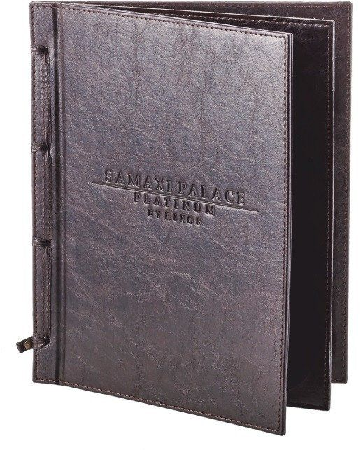 "Menu Covers with logo Made In Italian Faux Leather (12-Pack) - 8.5"" X 11"" - 4 Views"