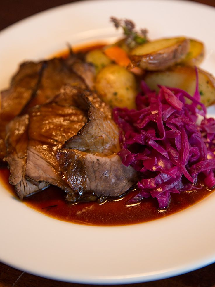 Celebrate #Oktoberfest with Glenmorgan's Sauerbraten with oven roasted potatoes, braised red cabbage, and carrots.