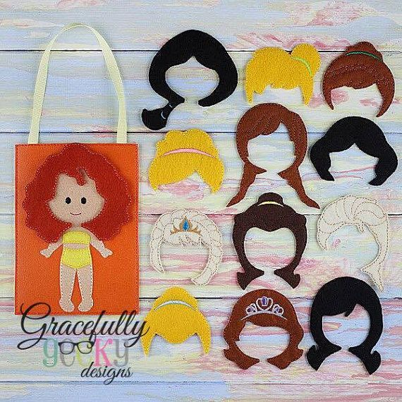 This listing is for 14 princess hair dos and a felt doll busy bag, the felt doll is stitched on to the bag and the bag has a pocket on back for