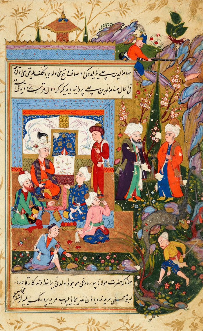 Ḥusām Al-Dīn Chelebi is Brought to a Reception Given for Rūmī by Mucīn Al-Dīn Parvāna, a Minister of Konya | Tarjuma-i Thawāqib-i manāqib (A Translation of Stars of the Legend), in Turkish | Iraq, Baghdad | 1590s | The Morgan Library & Museum