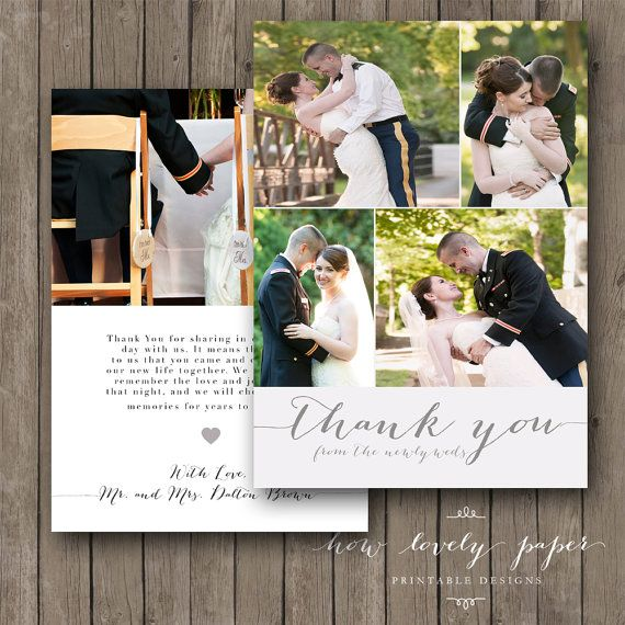 Printable Wedding Thank You Photo Card - Newlyweds, double-sided, front and back