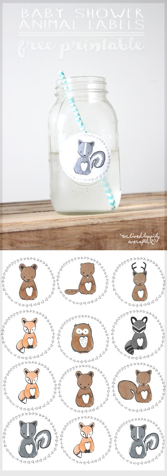 Free Forest Animal Mason Jar Baby Shower Label Printables (We Lived Happily Ever After)