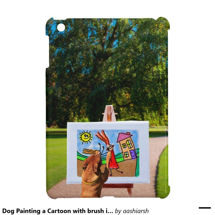 #Dog #Painting a #Cartoon with brush in #Garden #iPad Mini #Cover #apple #canvas #tree