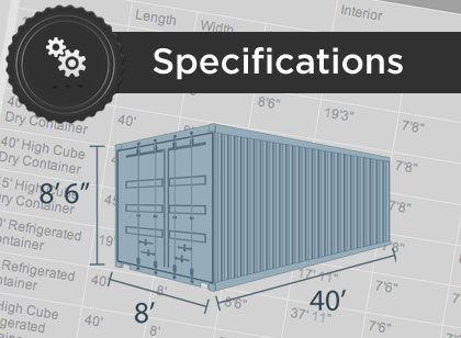 Container Alliance | Specifications | 20' Shipping Container | 40' Storage Container | 45' Storage Container | Container Dimensions