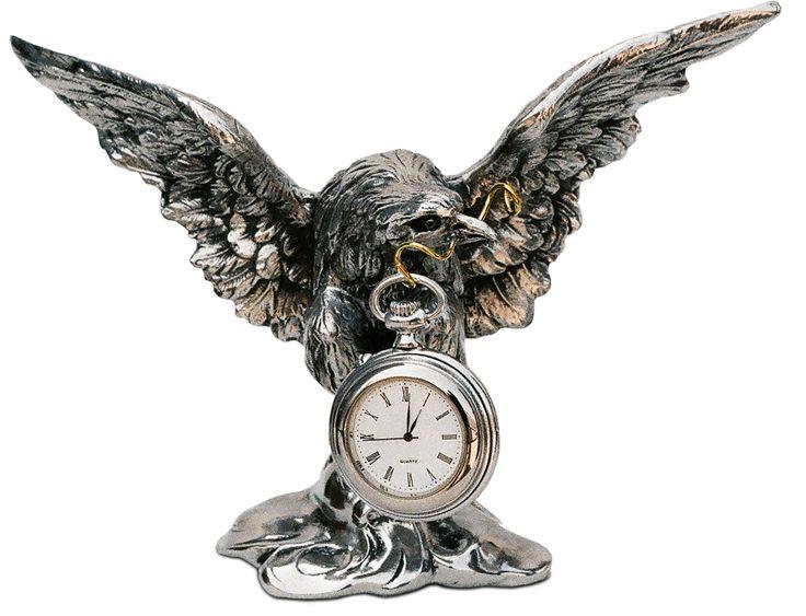 Porta-orologio aquila cm 21 x h 15 (Peltro / Britannia Metal) - collezione: Aquila. Cosi Tabellini.