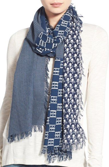 Madewell 'Indigo Patch' Silk Scarf available at #Nordstrom