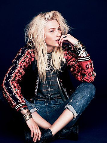 Free People FP New Romantics Carnival Baseball Jacket The athletic cuffs are killing me :)