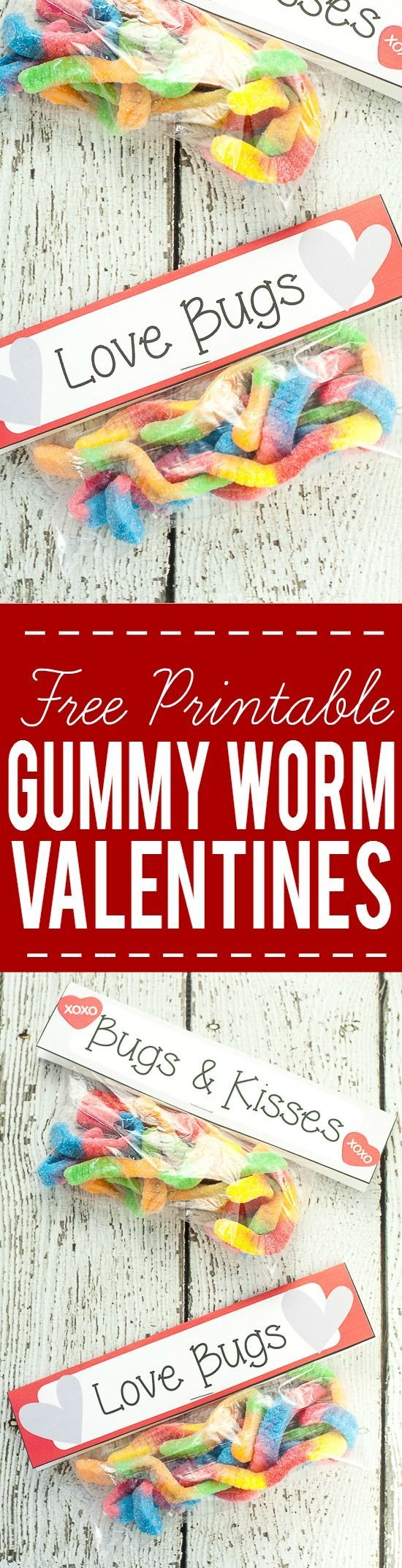 Free Printable Gummy Worm Valentines for kids