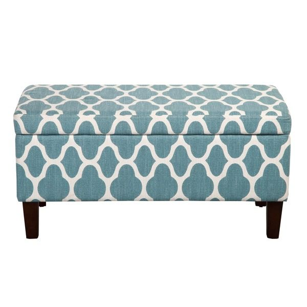 HomePop Large Teal Blue Decorative Storage Ottoman