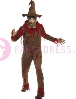 Dit Pompoen Vogelverschrikker kostuum bestaat uit:  Een bruine broek.  Een bruin/rode top.  Een bruine hoed en  Een rood nekstuk.