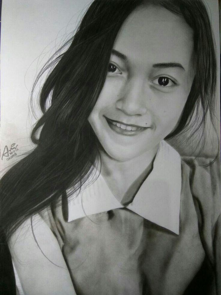 Cute girl, asian girl, wanita indonesia, drawing portrait, pencill on paper 30x40, by ari berta galung