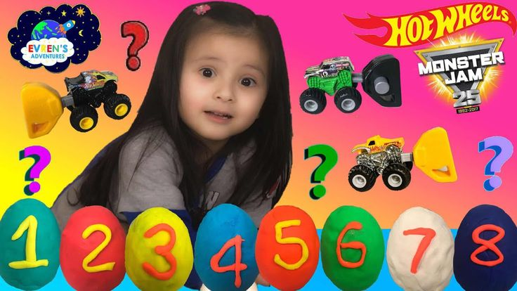 8 HOT WHEELS MONSTER JAM Trucks BLIND BAGS opening Play Doh surprise eggs Guess the monster trucks collectible 2017. Thanks for joining Evren from EvrenAdventures ToysReview to open 8 PlayDoh Eggs surprise special edition 2017 series 1 Monster Jam mystery truck blind bags (the blind bags code number can be found in this video). Evren had lots of fun in this educational learning colors and numbers games for kids. Thanks for watching.