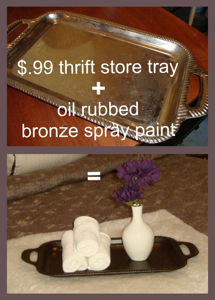 update a cheap tray from the thrift store with a coat of oil-rubbed bronze spray paint
