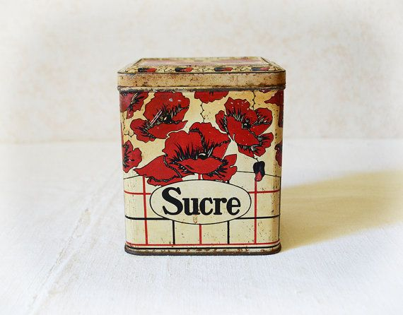 French Sugar Tin Red Poppies Kitchen Decor Floral By Frenchgypsy Red And White