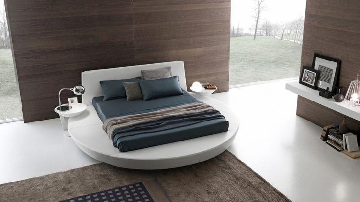 Funzionale e pratico, il letto rotondo Zero utilizza biancheria dalle dimensioni standard. By Presotto