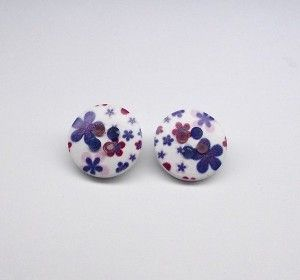Blue & Pink Flowers Acrylic Clip On Earrings