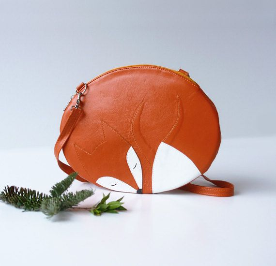 This leather bag is made by hand in a shape of a cute sleeping fox. More in Flora & Fauna section: http://etsy.me/1SIRTmi Ready-to-Ship/SALE