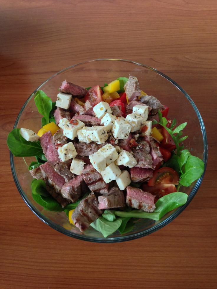 Fresh Salad with Rumpsteak and Feta Cheese