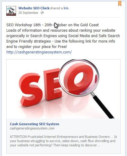 SEO Workshop 18th - 20th October on the Gold Coast Loads of information and resources about ranking your website organically in Search Engines using Social Media and Safe Search Engine Friendly strategies - Use the following link for more info and to register your place for Free! http://cashgeneratingseosystem.com