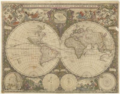 Karta från 1660 med två hemisfärer(halvklot), den ena visande Nord- och Sydamerika, den andra Europa, Asien och Australien.