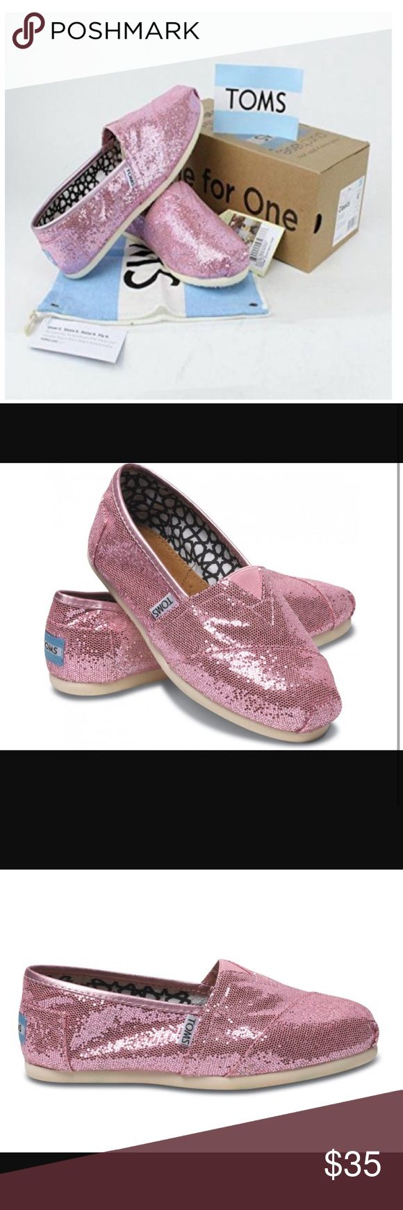 NWT Pink Glitter Toms Brand new condition, in box. Comes with bag and sticker. So cute! Toms Shoes Flats & Loafers